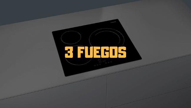 placa induccion 3 fuegos